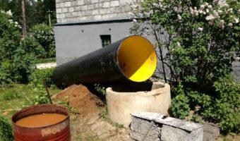 опускание трубы